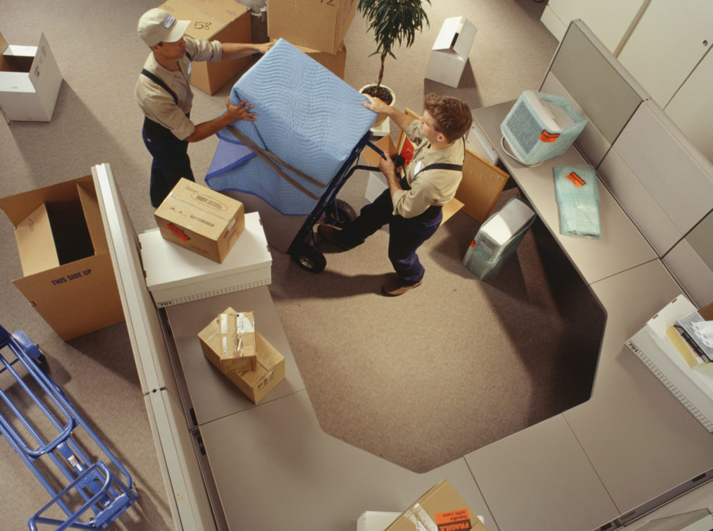 Two removal men moving boxes in office