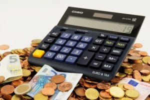 A calculator and money