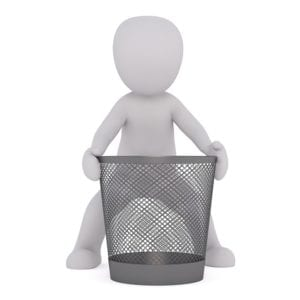 A person with a bin
