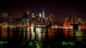 A night view of the Hudson River