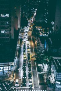 -traffic rush in the night