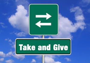 Sign, take and give