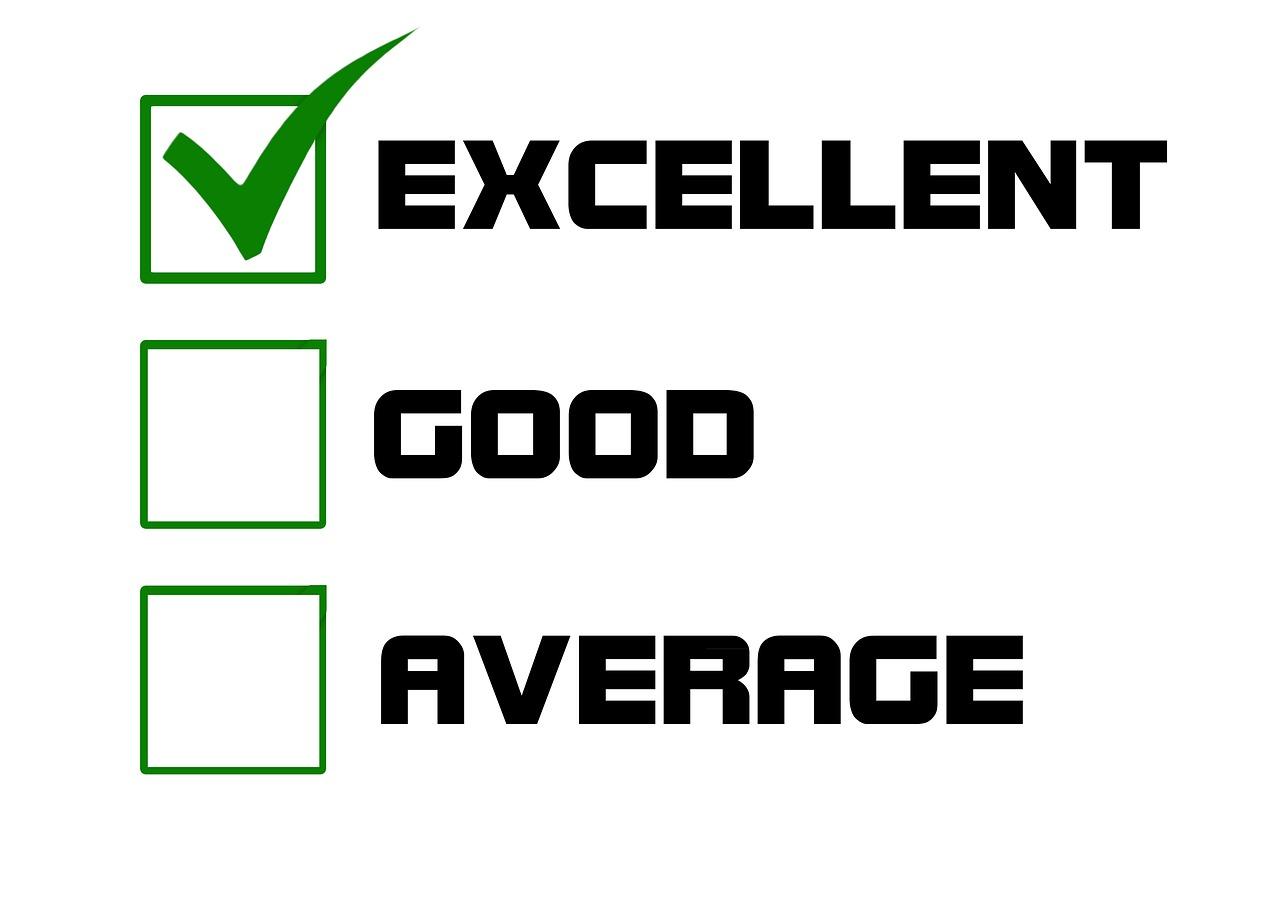 excellent, good, average sign