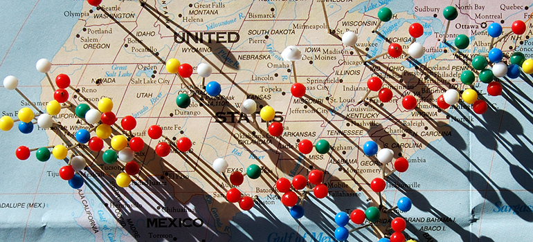 Map the the USA with pins in it representing where Raritan Township Movers can relocate you