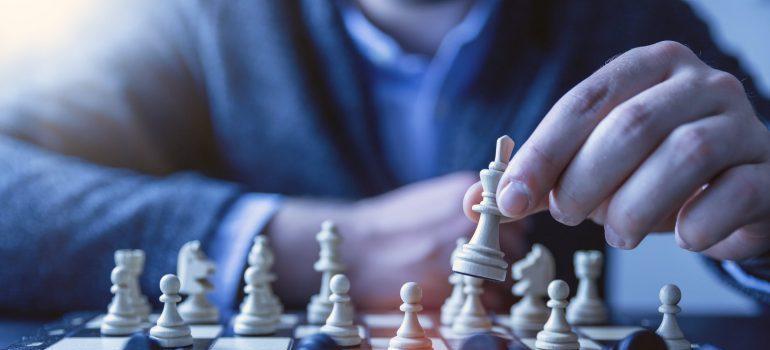 A man playing chess