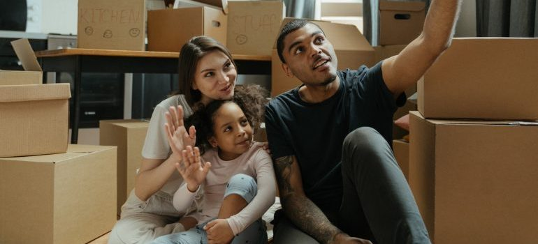 A family ready for moving during the busy moving season.