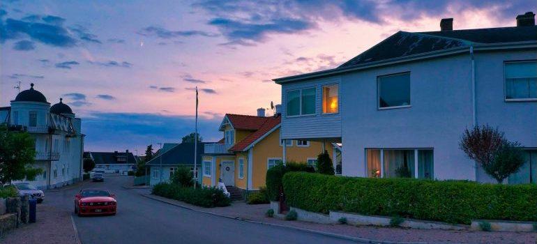A peaceful neighborhood at sunset.