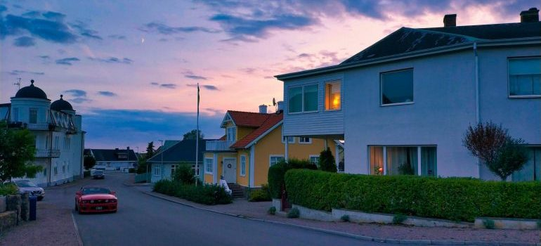 A suburb at sunrise or sunset.
