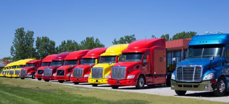a line of trucks