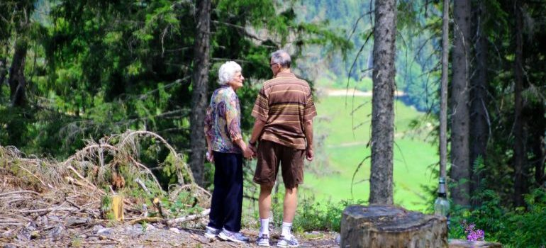 Senior couple in a forest