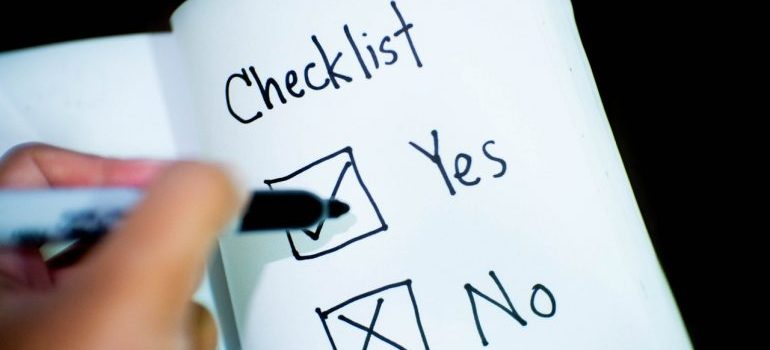 A checklist with options for yes and no