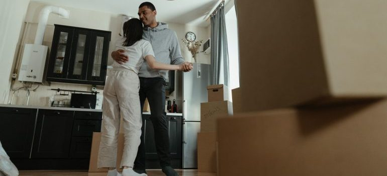 Couple dancing in the living room