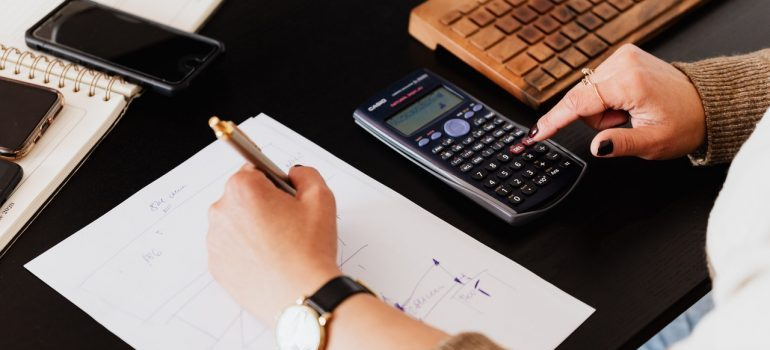 A calculator on the table.