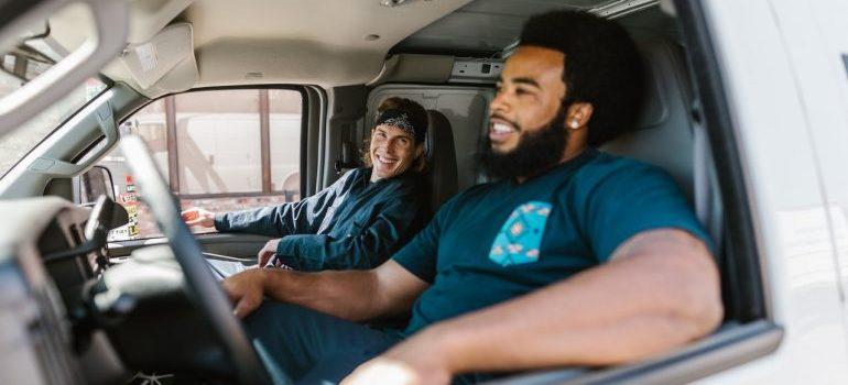 Palisades Park movers in a van