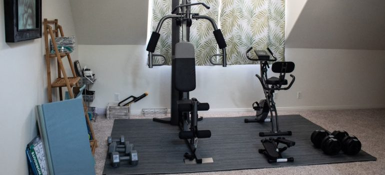 Black and grey gym machines and dumbbells on a floor mat